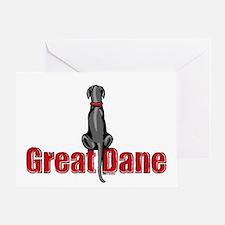 Black Great Dane UC Sit Greeting Card