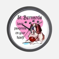 St. Bermard Pawprints Wall Clock