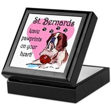 St. Bermard Pawprints Keepsake Box