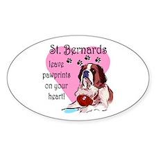St. Bermard Pawprints Oval Decal