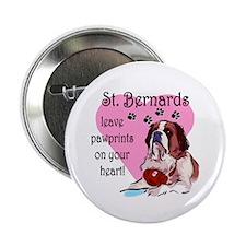 "St. Bermard Pawprints 2.25"" Button (10 pack)"