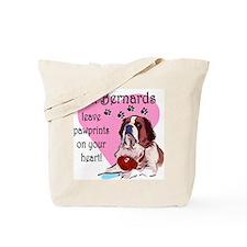 St. Bermard Pawprints Tote Bag