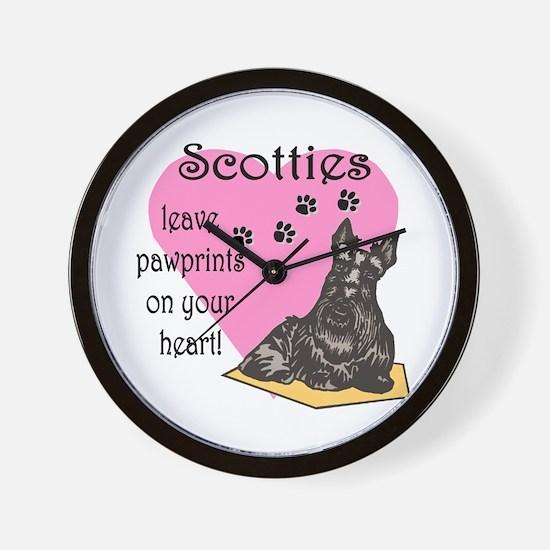 Scottie Pawprints Wall Clock