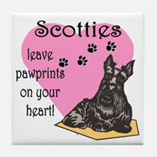 Scottie Pawprints Tile Coaster
