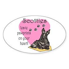 Scottie Pawprints Oval Decal