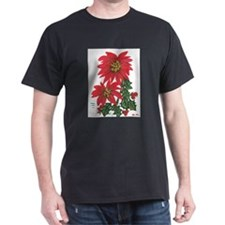 POINSETTIAS & HOLLY Black T-Shirt