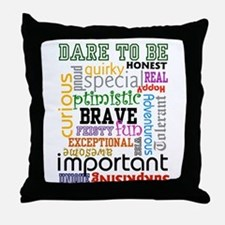 """Dare to Be"" Throw Pillow (Black)"