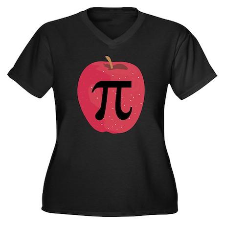 Apple Pie (Pi) Women's Plus Size V-Neck Dark T-Shi