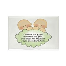 Twin Giggles Rectangle Magnet