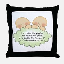 Twin Giggles Throw Pillow