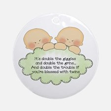 Twin Giggles Ornament (Round)