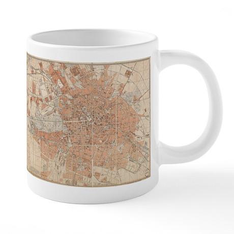 Vintage Map of Berlin Germa 20 oz Ceramic Mega Mug