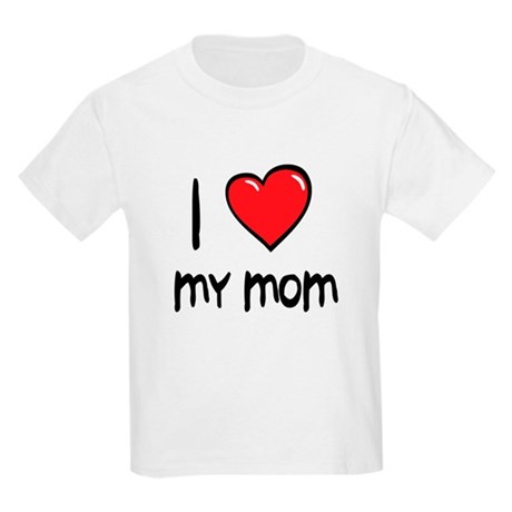 I Love Mom Cartoon Heart Kids Light T-Shirt