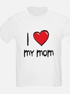 I Love Mom Cartoon Heart T-Shirt
