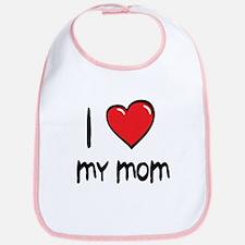 I Love Mom Cartoon Heart Bib
