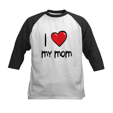 I Love Mom Cartoon Heart Kids Baseball Jersey