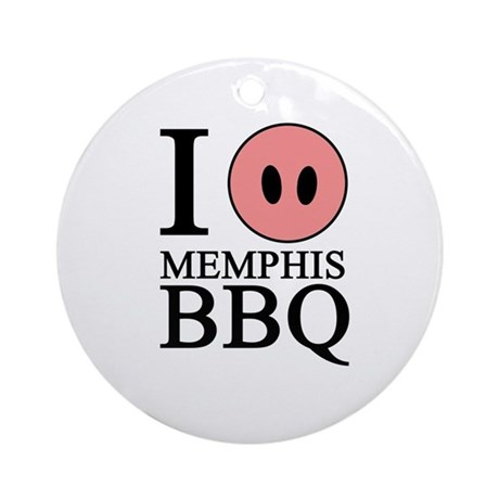 I Love Memphis BBQ Ornament (Round)