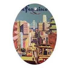 Vintage Travel Poster San Francisco Ornament (Oval