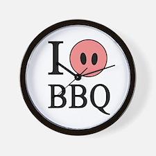 I Love BBQ Wall Clock