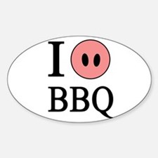 I Love BBQ Oval Decal