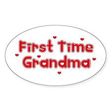 Heart 1st Time Grandma Oval Decal