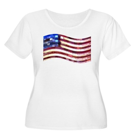 USA Flag quilted: Women's Plus Size Scoop Neck T-S