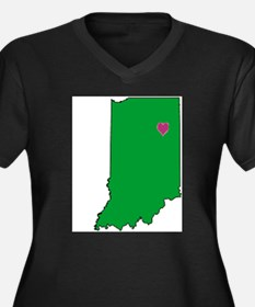 State Map Indiana Women's Plus Size V-Neck Dark T-