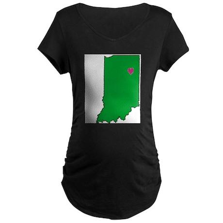 State Map Indiana Maternity Dark T-Shirt