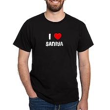 I LOVE SANIYA Black T-Shirt
