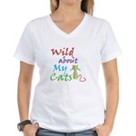 Wild about My Cats Women's V-Neck T-Shirt