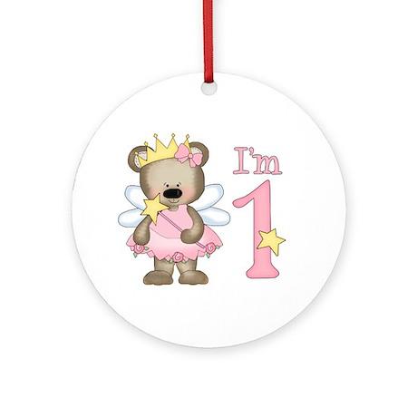 Bear Princess First Birthday Ornament (Round)