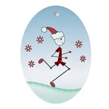 Holiday Runner Guy Ornament (Oval)