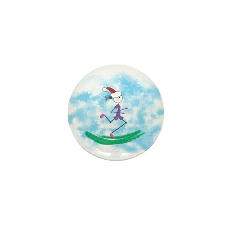 Christmas Holiday Lady Runner Mini Button (10 pack