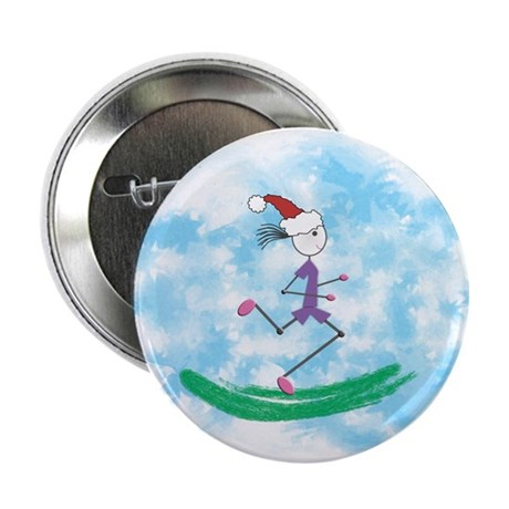 "Christmas Holiday Lady Runner 2.25"" Button"