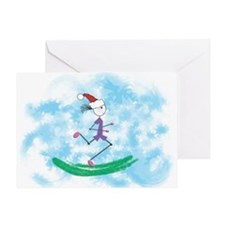 Christmas Holiday Lady Runner Greeting Card