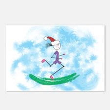 Christmas Holiday Lady Runner Postcards (Pk of 8)