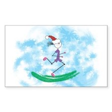 Christmas Holiday Lady Runner Rectangle Decal