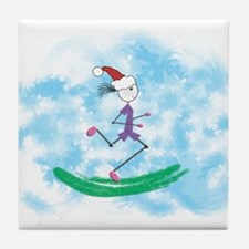 Christmas Holiday Lady Runner Tile Coaster