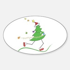 Christmas Tree Runner Oval Decal