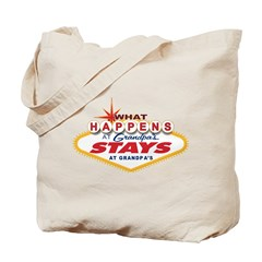 What Happens at Grandpa's Tote Bag