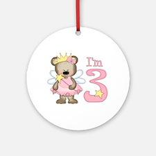 Bear Princess 3rd Birthday Ornament (Round)