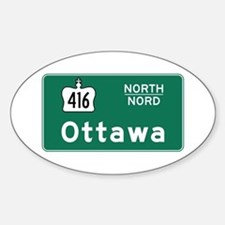 Ottawa, Canada Hwy Sign Oval Decal