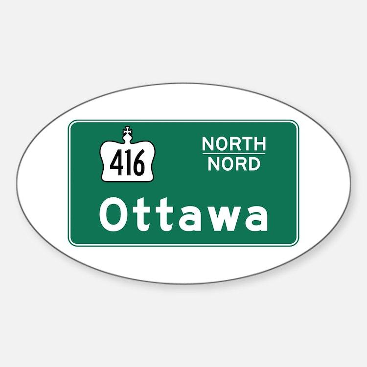 Ottawa, Canada Hwy Sign Oval Decal
