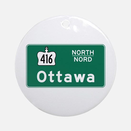 Ottawa, Canada Hwy Sign Ornament (Round)