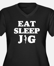 EAT SLEEP JIG Women's Plus Size V-Neck Dark T-Shir