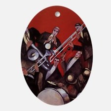 Vintage Music, Art Deco Jazz Ornament (Oval)