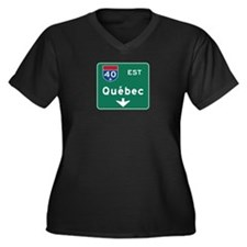 Quebec, Canada Hwy Sign Women's Plus Size V-Neck D