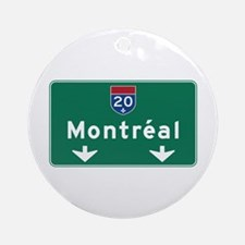 Montreal, Canada Hwy Sign Ornament (Round)