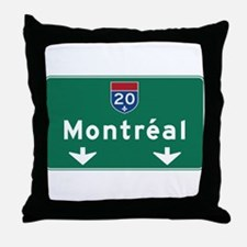 Montreal, Canada Hwy Sign Throw Pillow