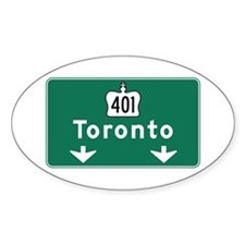 Toronto, Canada Hwy Sign Oval Decal